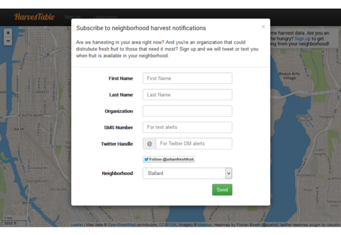 Notification sign up form