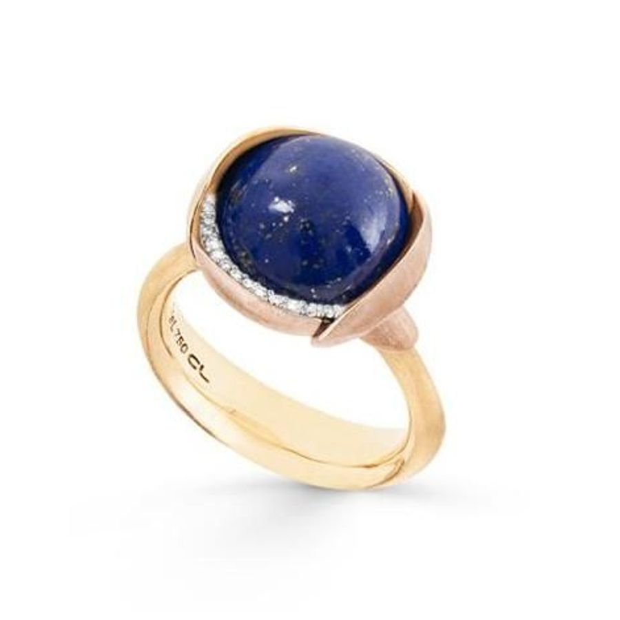 Bilde av Ring, Lotus str 3 m/lapis lazuli