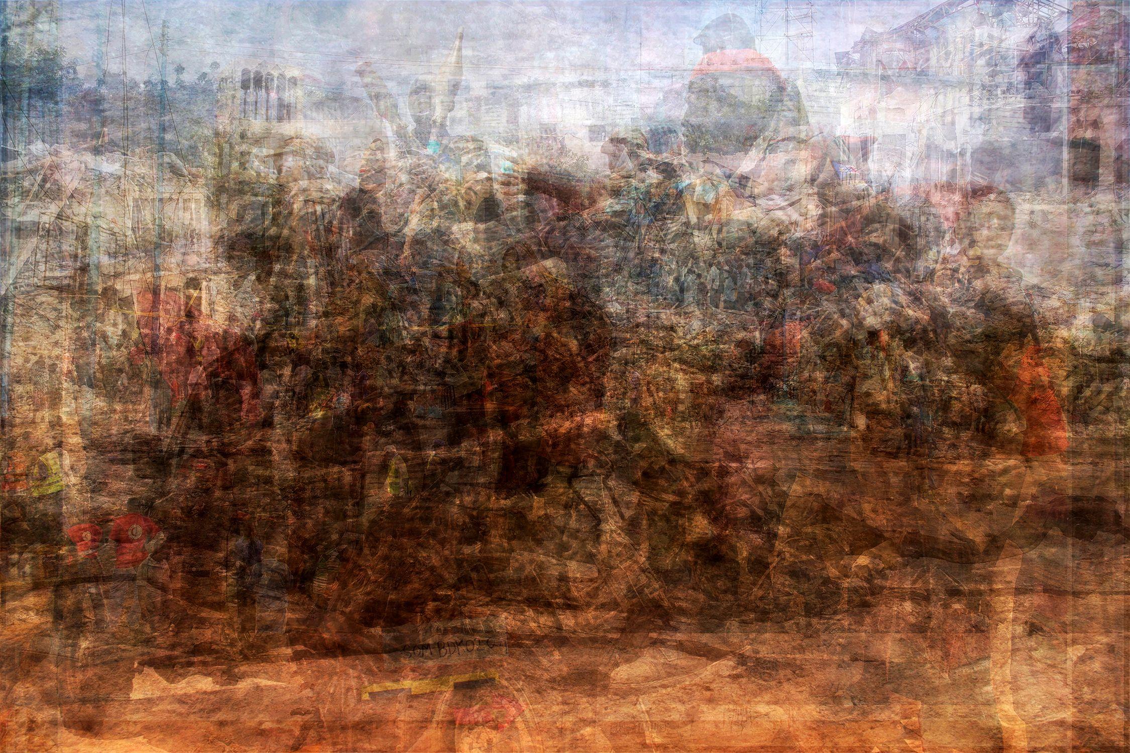 Hunderte überlagerte Bilder aus dem Bürgerkrieg in Somalia.