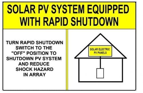Rapid Shutdown Label