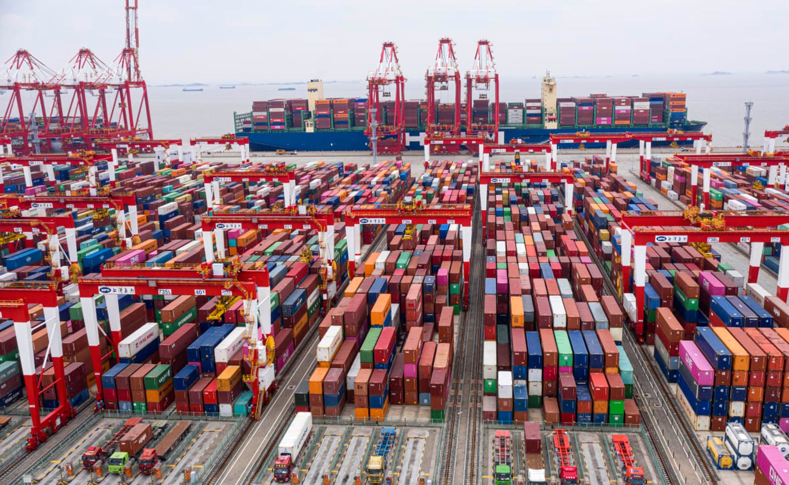 Shanghai's Yangshan port can handle ships with 22,000 TEUs on board. In New Zealand, the vast majority are under 8000 TEUs.  Photo: Getty Images