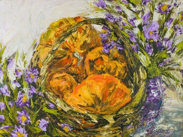 Basket with pumpkins | Art Lasovsky