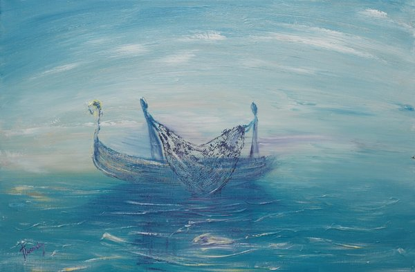 Disciples on a norwegian boat throwing nets | Art Lasovsky