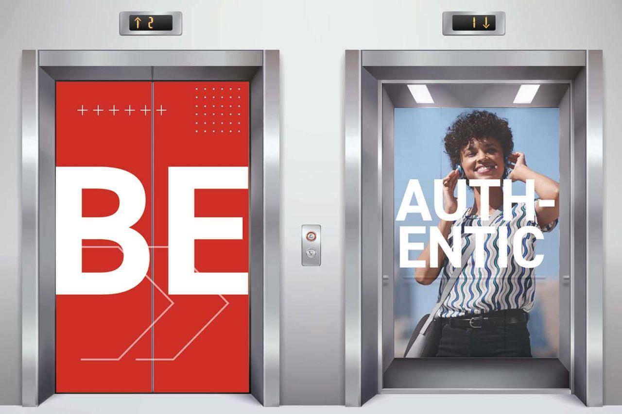 office branding in elevator