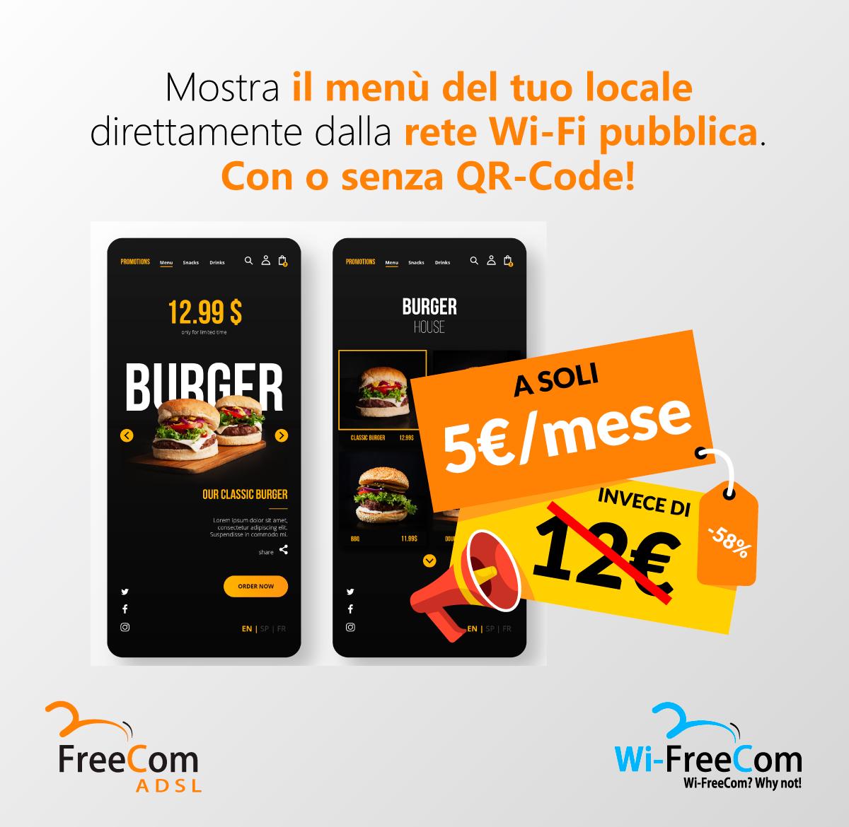 Mostra il menù del tuo locale direttamente dalla rete Wi-Fi pubblica. CON O SENZA QR-CODE!