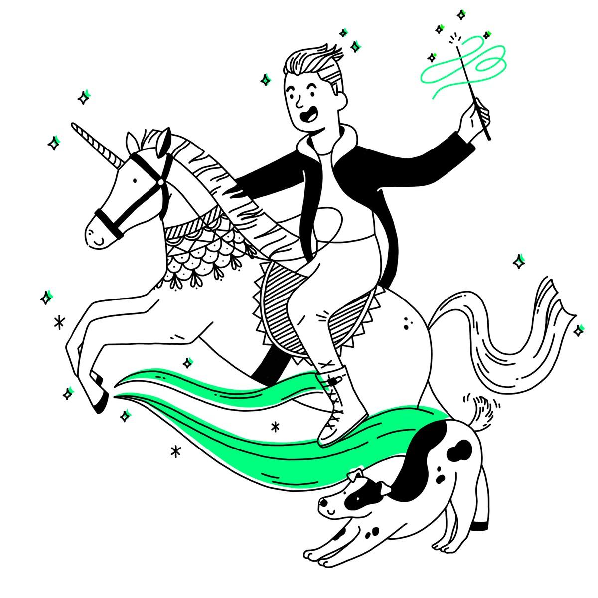 Man riding a unicorn