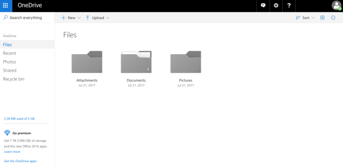 Preview of OneDrive