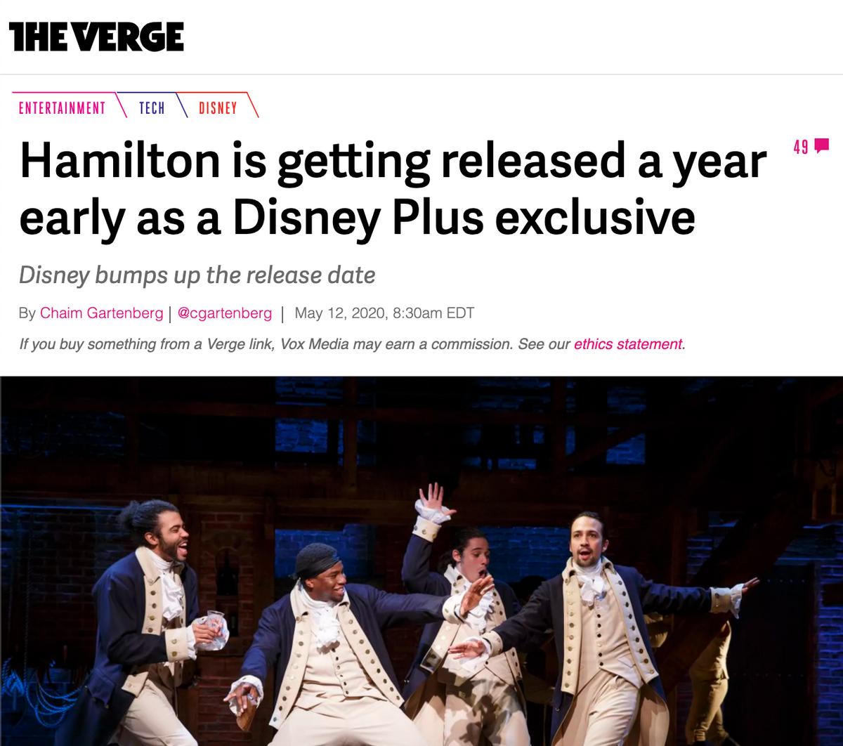 Hamilton and Disney Plus campaign