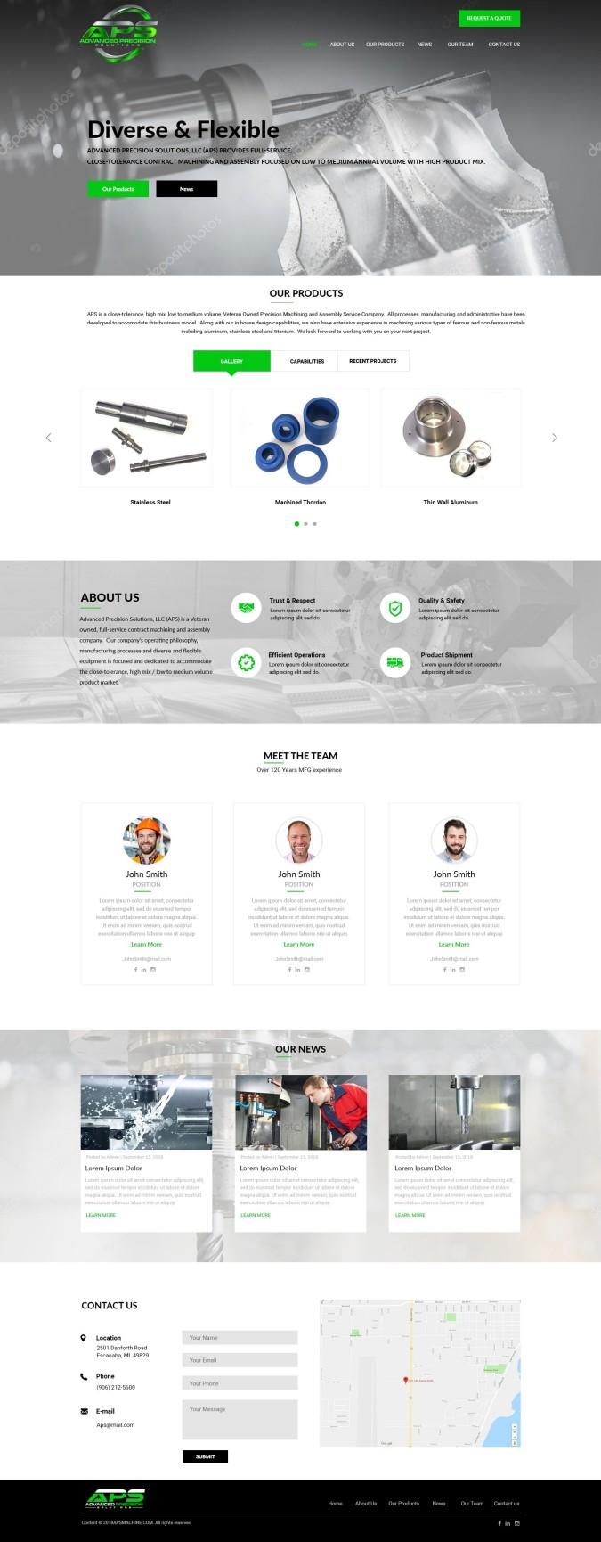Advanced Precision Solutions Website Design