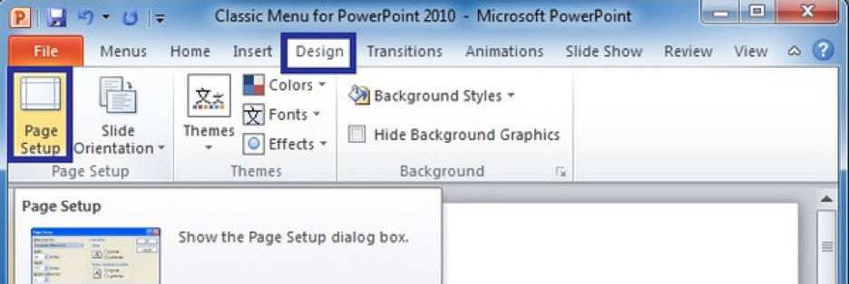 Preview of Design Tab Office 2010