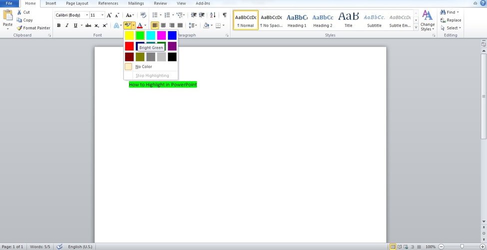 Create text and highlight it in Word