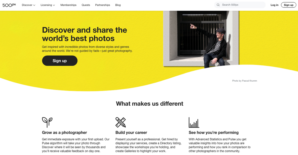 500 px yellow homepage design