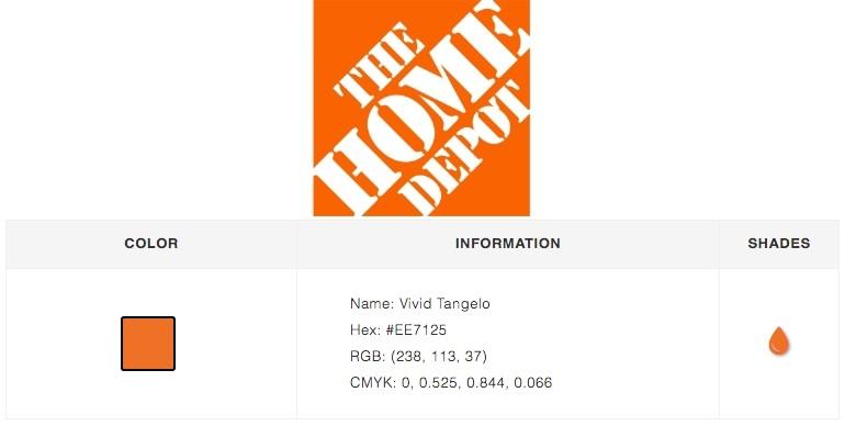 Home Depot Logo color branding