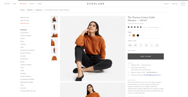 Everlane product page example