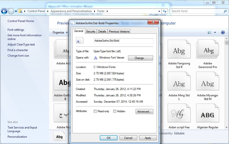 Fonts dialog box, General tab