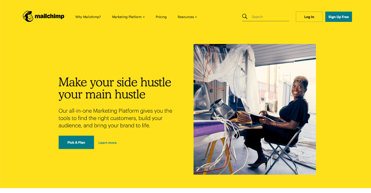Mailchimp homepage design with bright yellow