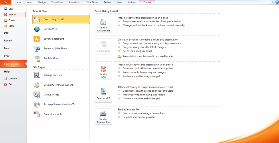 Preview of File tab and Save As option