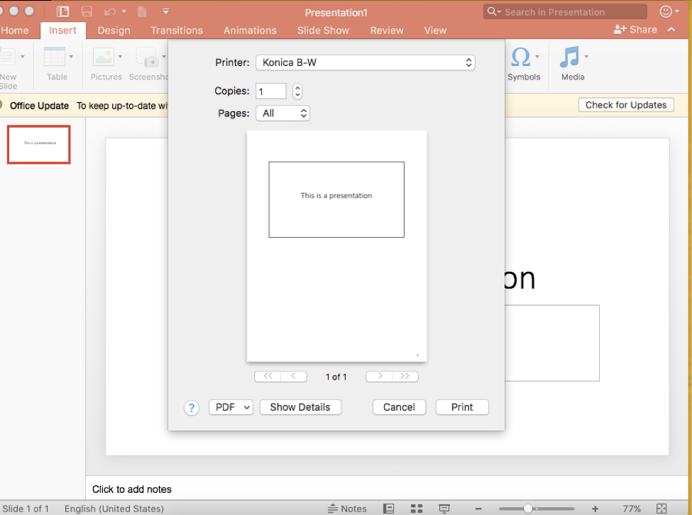 Click File tab, Print, and select Show Details