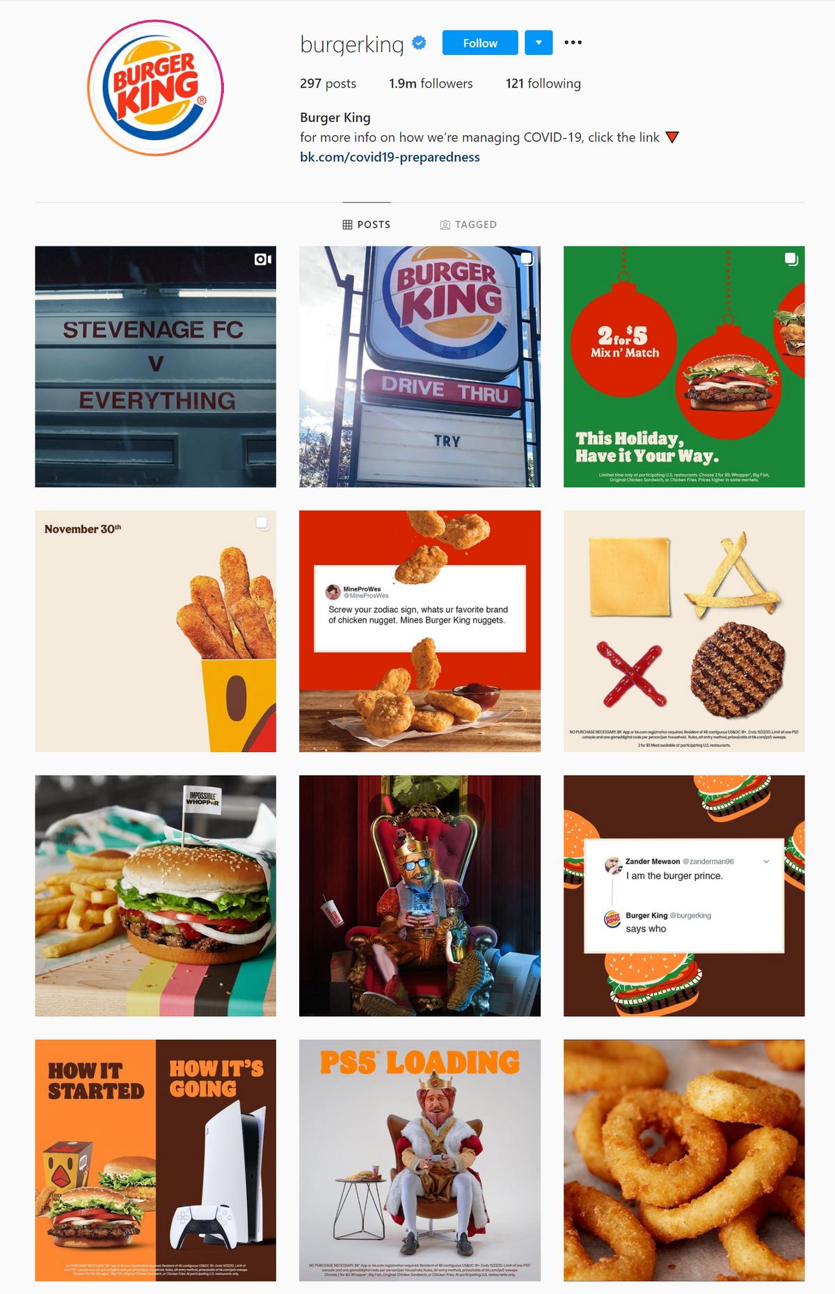 Instagram'da Burger King sosyal medya tasarım tablosu