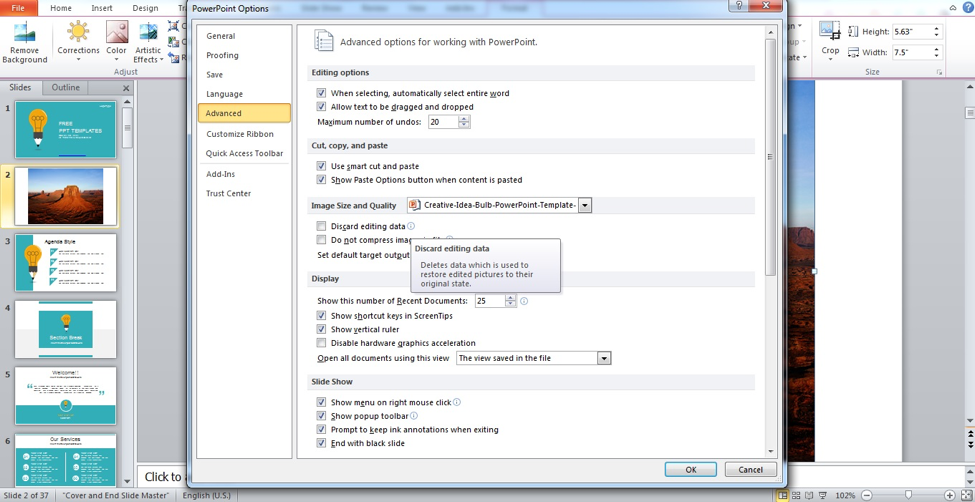 Preview of Advanced dialog box