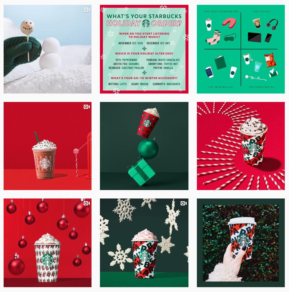 Starbucks holiday social posts on Instagram