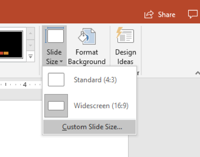 Preview of Slide Size option