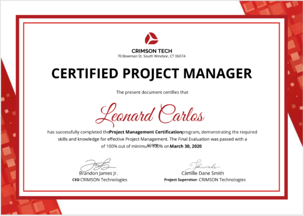 project manager certificate