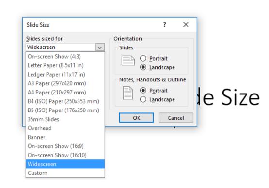 Slide Size option