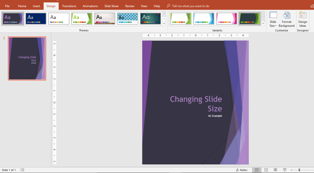 Custom dimensions slide example