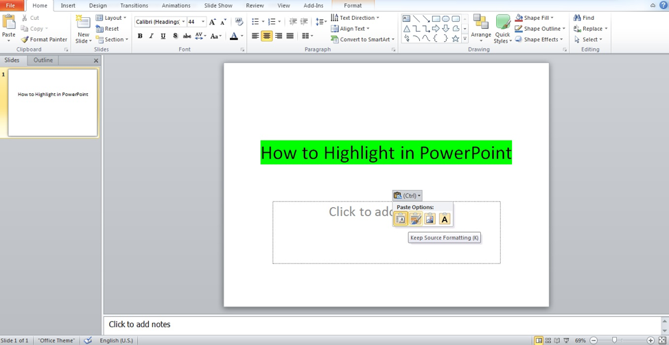 Paste in PowerPoint