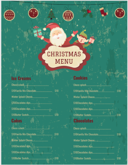 christmas bakery menu