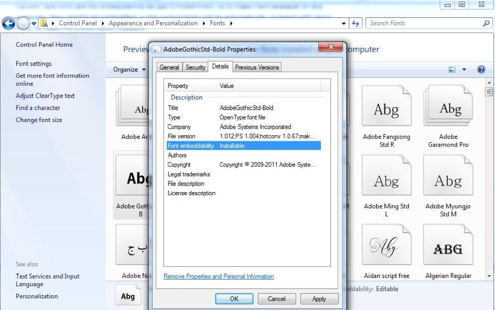 Fonts dialog box, Details tab