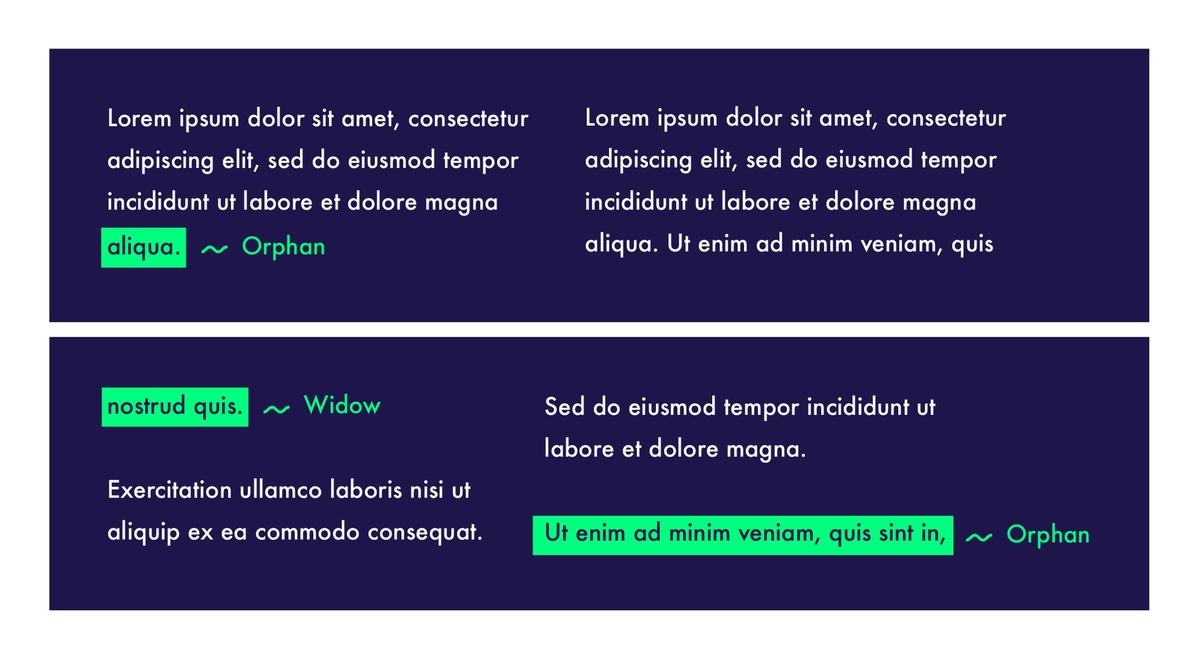 Orphan vs Window design terms