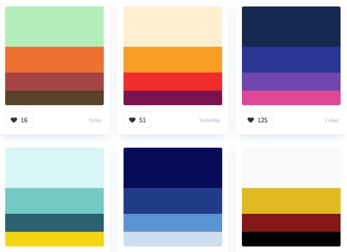 Colourhunt sample palettes