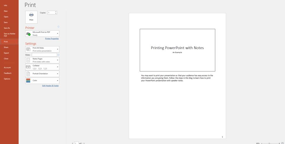 Select File tab and click Print