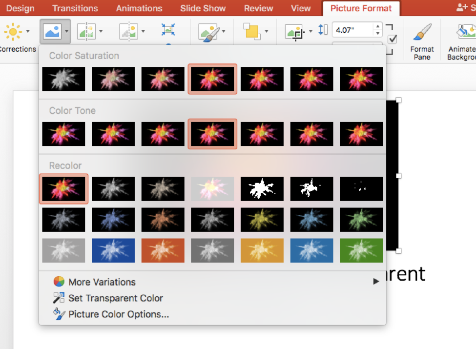 Go to Picture Format and select the Color