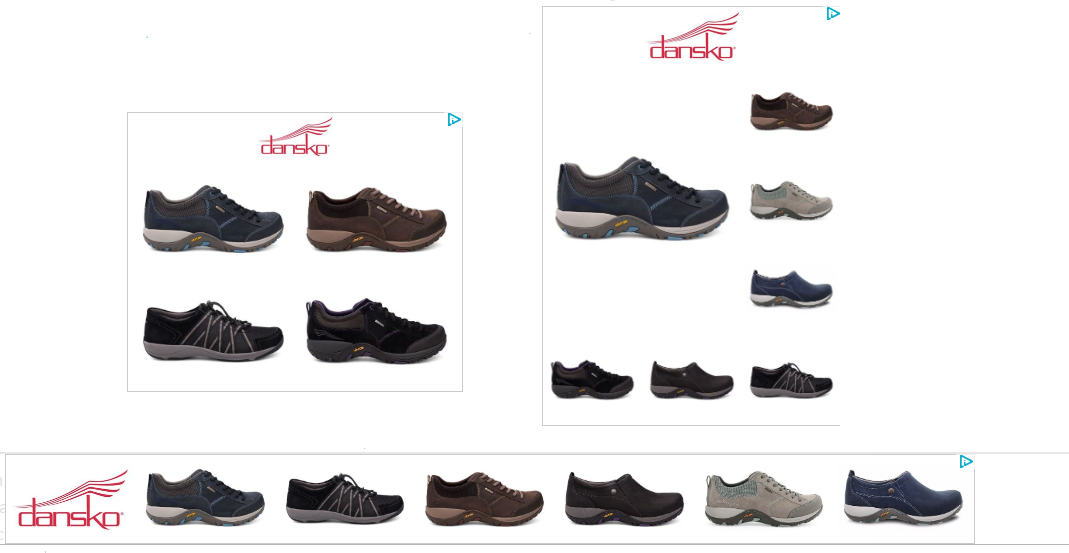 Three display ads for Dansko, showing square and rectangular ad sizes.