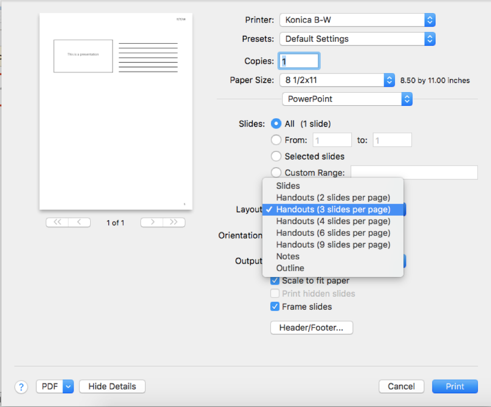 In the Layout menu, select Handouts