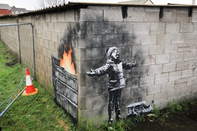 Banksy's mural addressing air pollution