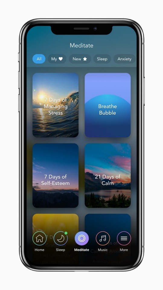 Calm app design layout