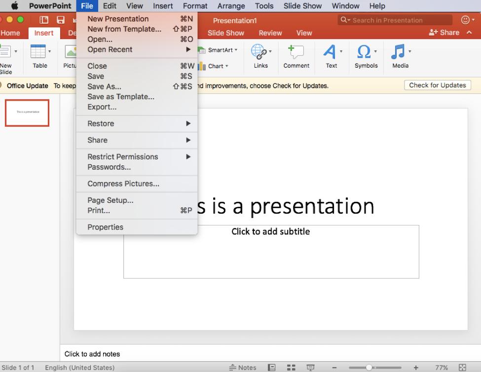 Click File menu