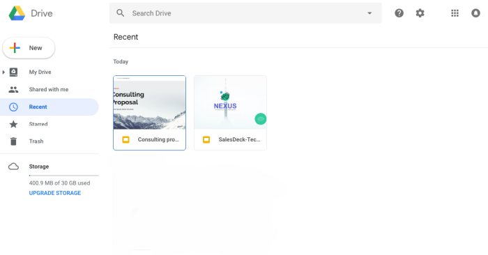 Preview of Google Drive