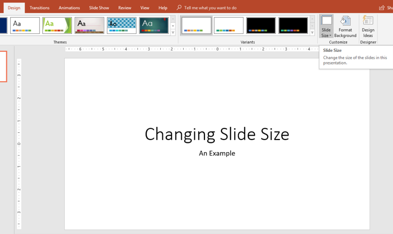 Preview to click Slide Size button