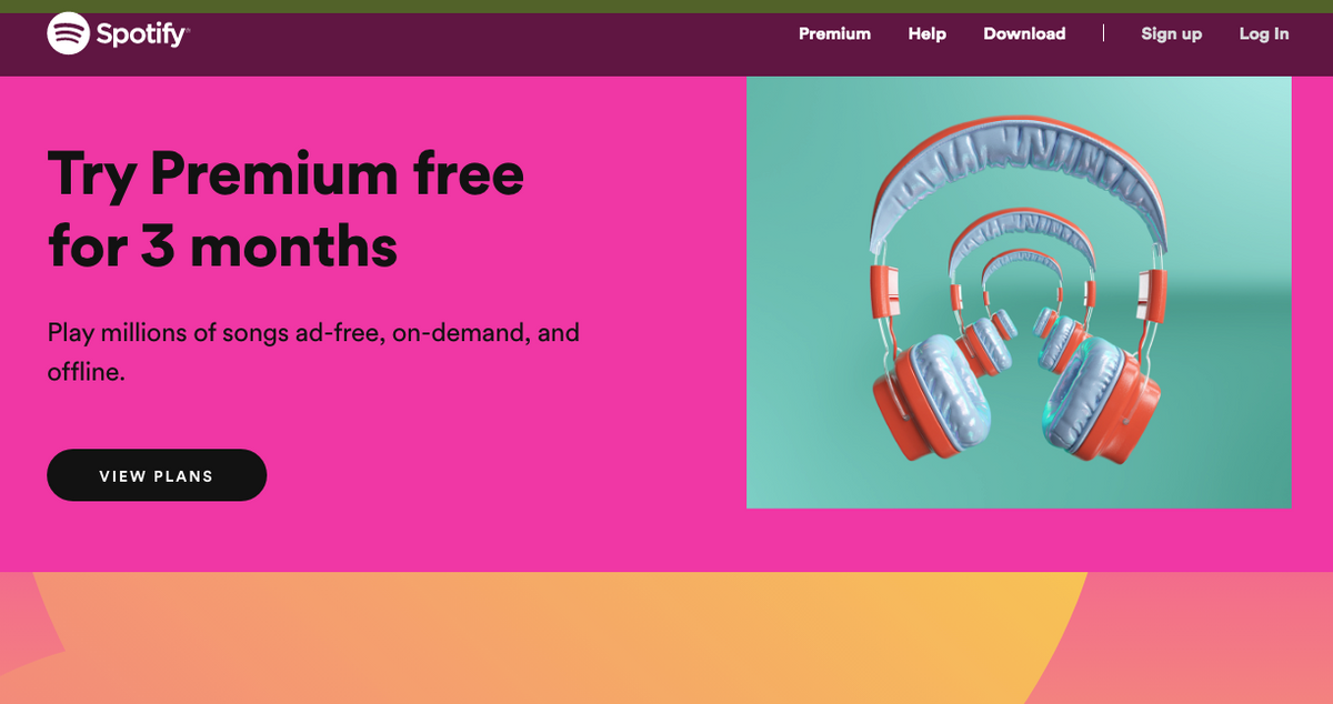 Spotify homepage design with bright and cheerful colors