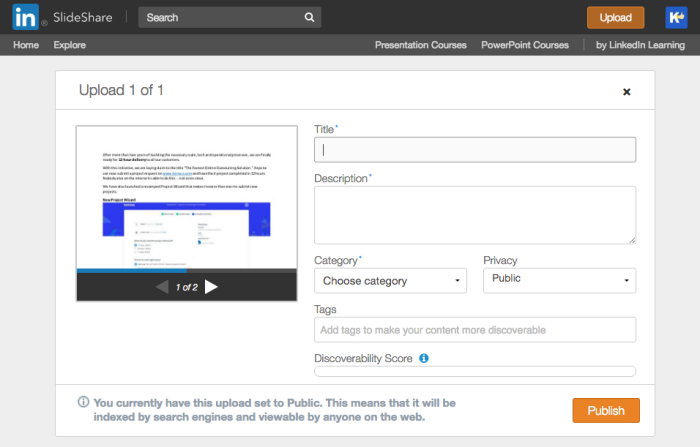 Preview of SlideShare tool