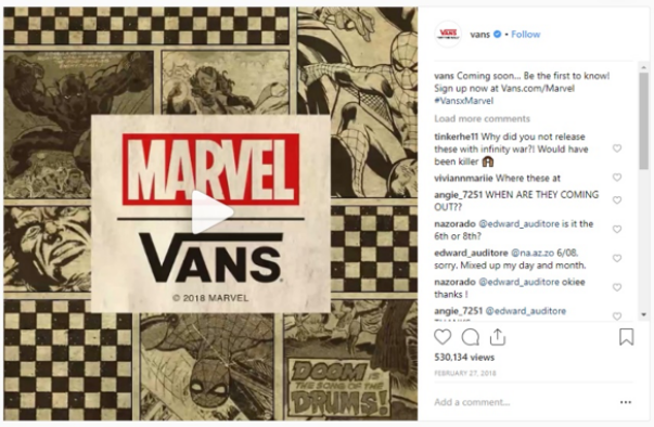 Marvel x Vans instagram video