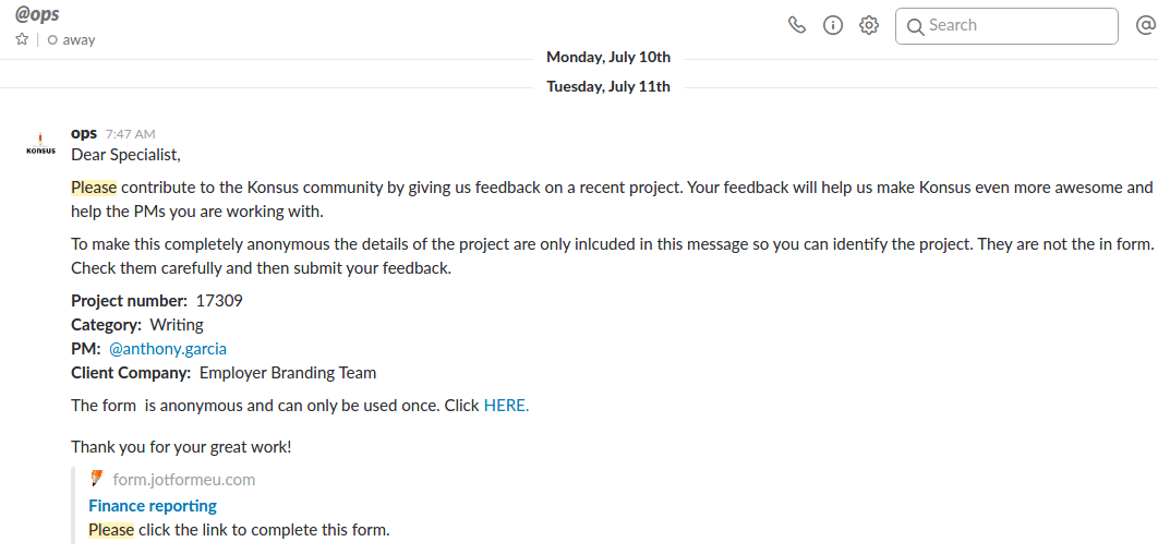 Feedback form automatically sent when project finished