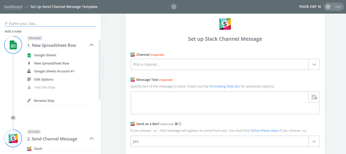 Zapier requests access to your Slack account