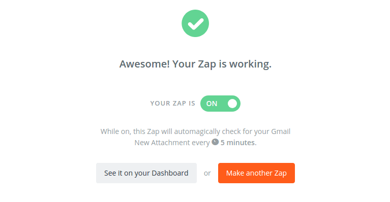 "Zapier then presents testing step for the Zap. If successful, click ""Finish"" to save the Zap"