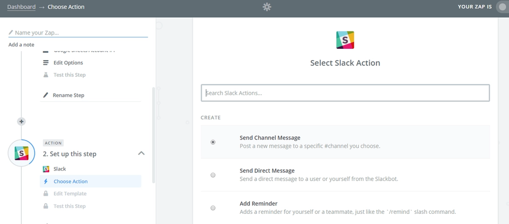 """Select Slack as the action app and """"Send Channel Message"""" as the action"""